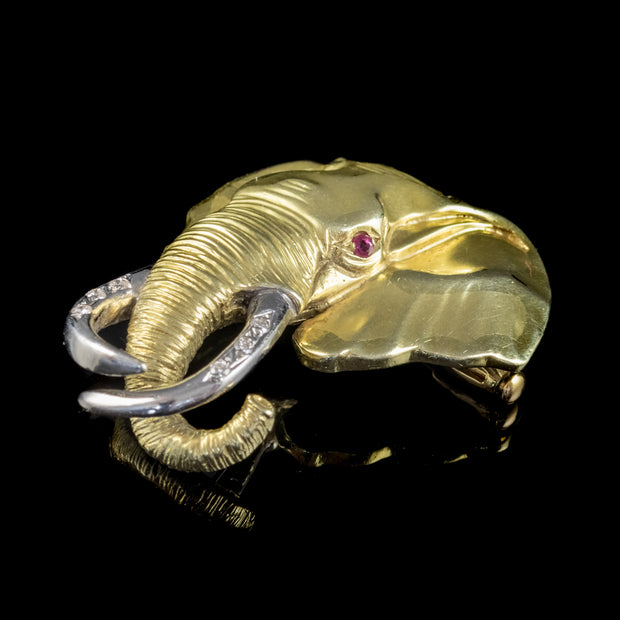 VINTAGE DIAMOND RUBY SHAWU ELEPHANT BROOCH 15CT GOLD CIRCA 1980