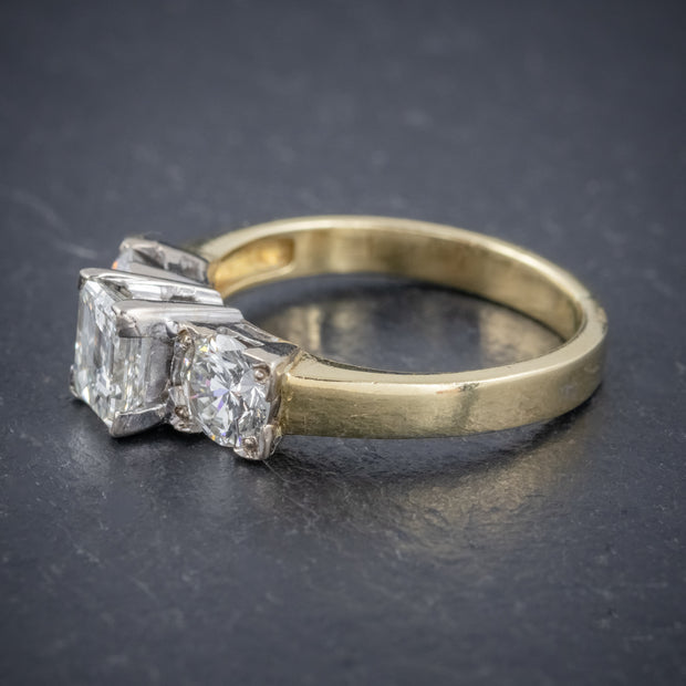 VINTAGE DIAMOND TRILOGY RING 18CT GOLD PLATINUM 1.70CT DIAMONDS CERT