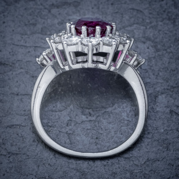 VINTAGE RUBY DIAMOND CLUSTER RING NATURAL 3.20CT RUBY 2.50CT DIAMONDS 18CT WHITE GOLD CERT