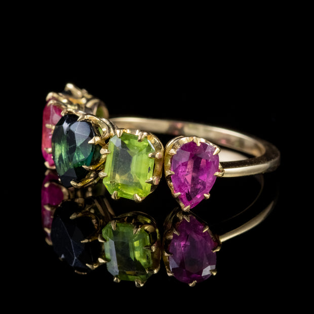 VINTAGE TOURMALINE FIVE STONE HEART RING 18CT GOLD