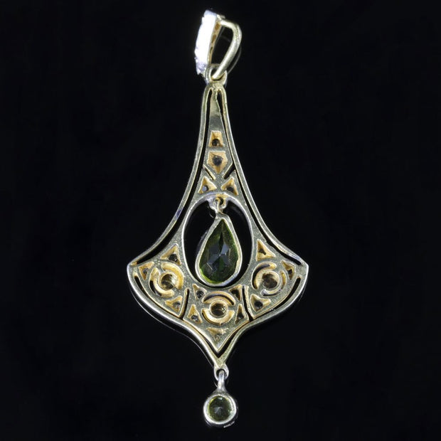 VICTORIAN OLD ROSE CUT DIAMOND PERIDOT GOLD SILVER PENDANT