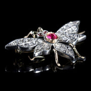VICTORIAN RUBY DIAMOND BUTTERFLY 18CT SILVER BROOCH CIRCA 1900