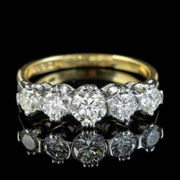 Vintage Five Stone Diamond Ring 1.24ct Of Diamond Dated 1973
