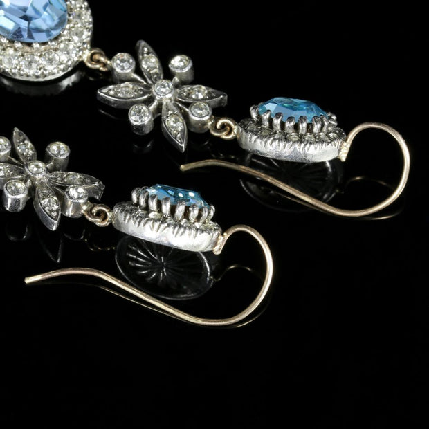 BLUE ZIRCON PASTE LONG EARRINGS SILVER 18CT GOLD WIRES