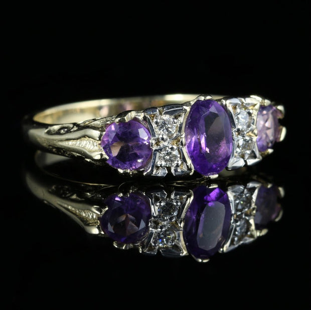 AMETHYST AND DIAMOND RING 9CT GOLD