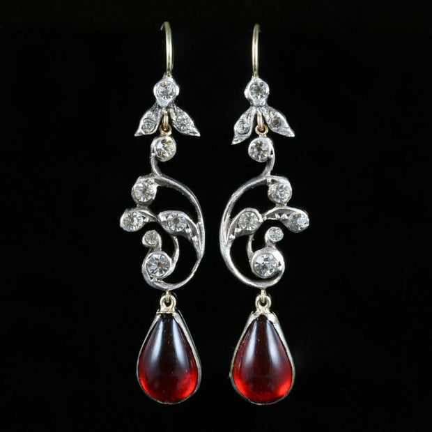 ANTIQUE GEORGIAN LONG PASTE EARRINGS LOVELY RED PASTE CIRCA 1830