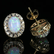 Victorian Style Opal Diamond Earrings 9Ct Gold Large Opal