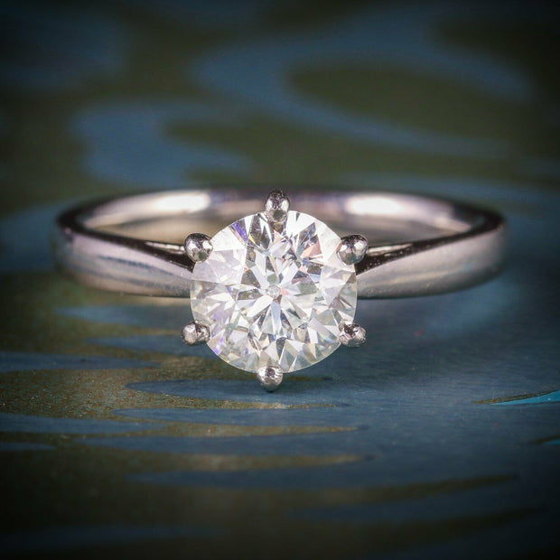DIAMOND SOLITAIRE RING PLATINUM ENGAGEMENT RING 1.60CT DIAMOND
