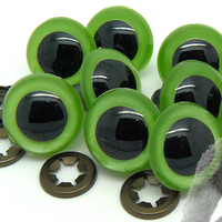7.5mm High Quality GREEN PEARL Teddy Bear Safety Eyes complete with push fit heavy duty METAL washer