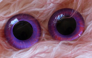 24mm Hand Painted Glass Eyes - Purple Haze