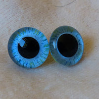 18mm Hand Painted Eyes - Blue and Green Stripe