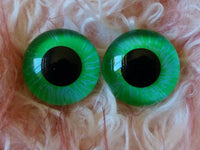 20mm Hand Painted Eyes - Fluro Green + Blue