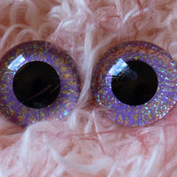 22mm Hand Painted Eyes - Amethyst Sparkle