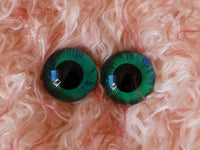 22mm Hand Painted Eyes - Green + Royal Blue