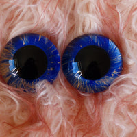 22mm Hand Painted Eyes - Blue and Gold