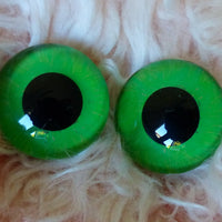 24mm Hand Painted Eyes - Green + Dark Green