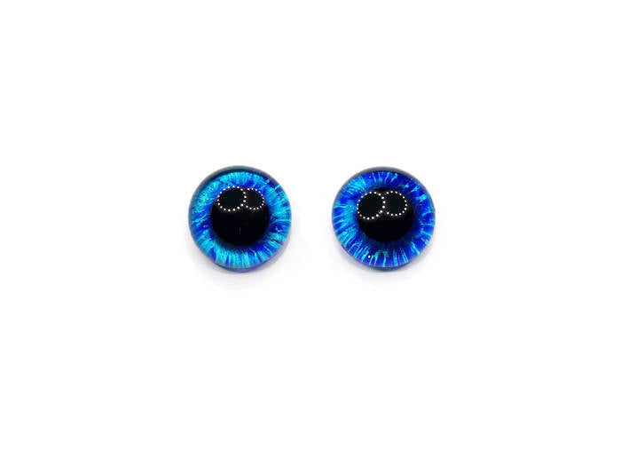 20mm Hand Painted Eyes -  Teal and dark blue