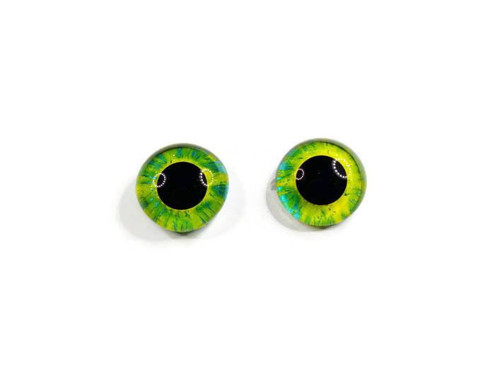 22mm Hand Painted Eyes - Yellow + Teal