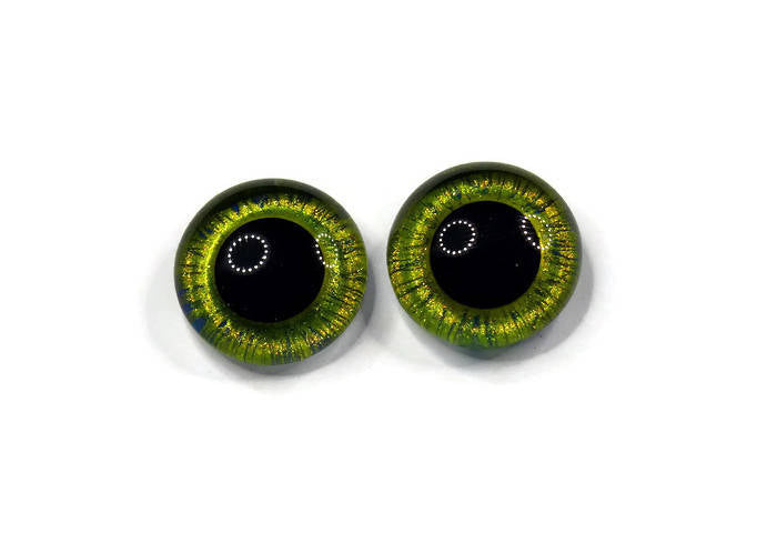 18mm Hand Painted Eyes - Yellow Green w/Blue striping