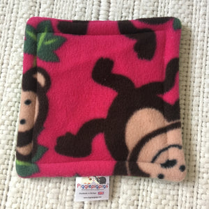 Bottle Pad - Pink Monkey with Green Fleece