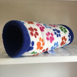 Tunnel - Paw Prints with Royal Blue Fleece