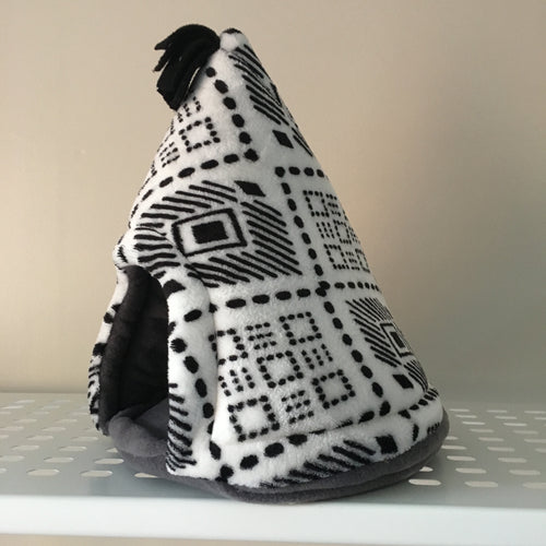 Pigwam - Black Aztec with Grey Fleece