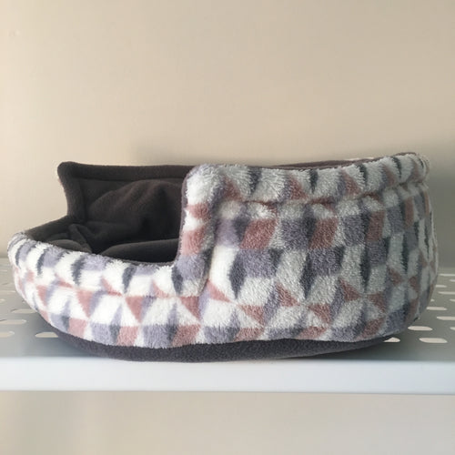 Bunnie Snug  - Pink Geo with Grey Fleece