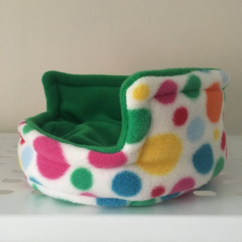 Piggie Snug SMALL - Multi Spots with Green Fleece