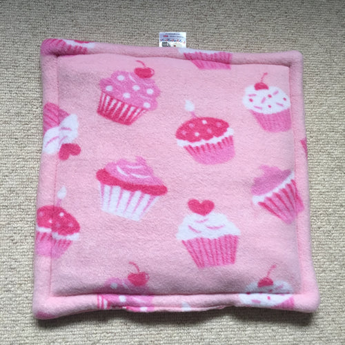 Lap Pad - Cupcakes with Bubblegum Pink Fleece