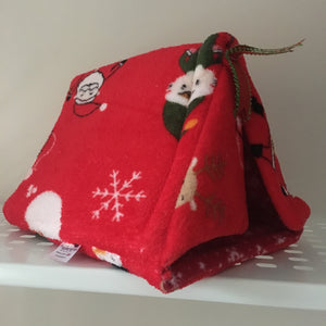 Christmas 2018 Tent - Santa and Elfs with Red Snowflake Fleece