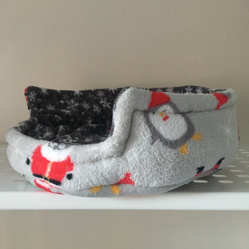 Christmas 2018 Bunnie Snug  - Santas and Penguins with Grey Snowflake Fleece