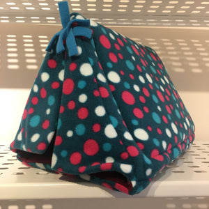 Tent - Teal Spots with Wine Fleece