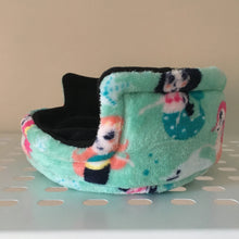 Load image into Gallery viewer, Piggie Snug SMALL - Mermaids with Black Fleece