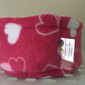 Valentines 2019 Piggie Snug SMALL - Pink Hearts with Light Pink Fleece