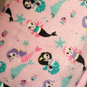 JUMBO Lap Pad - Pink Mermaid with Pink Fleece