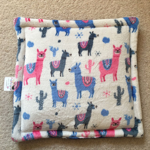 Lap Pad - Llama with Blue Fleece