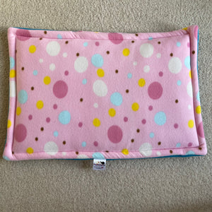 JUMBO Lap Pad - Pink Spots with Teal Fleece