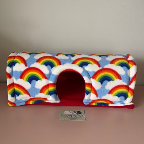 Wheek-a-Boo Rainbows with Red Fleece