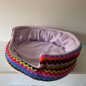 Bunnie Snug  - Zig zag with Lilac Fleece
