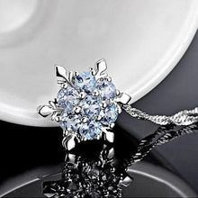 Lady Blue Crystal Snowflake - Inspired Frozen Flower Silver Pendant (FREE)