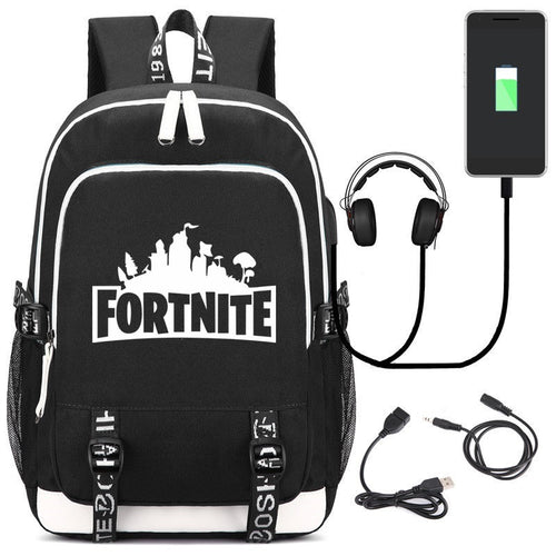 Fortnite Backpack with USB Charging Port and Headphone Jack