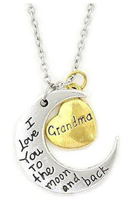 "Gift for Grandma- Half Moon and Heart ""Grandma I Love You to the Moon and Back"" Pendant Necklace, 18"""