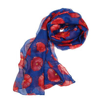 Red Poppy Print Long Scarf Flower