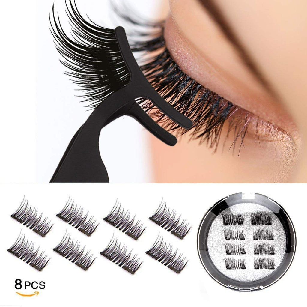 8 PCS Reusable Double Magnetic False Eyelashes-Ultra Thin 0.2mm Professional,3D Fiber Fake Lashes Extension for Natural Look,Stronger Double Magnet.
