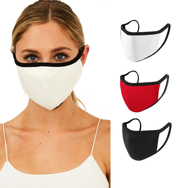 3 PIECES, FACE MASKS FOR WOMEN AND MEN | BREATHABLE, REUSABLE, WASHABLE, SOLID COLOR STYLISHME BRAND- MADE IN USA