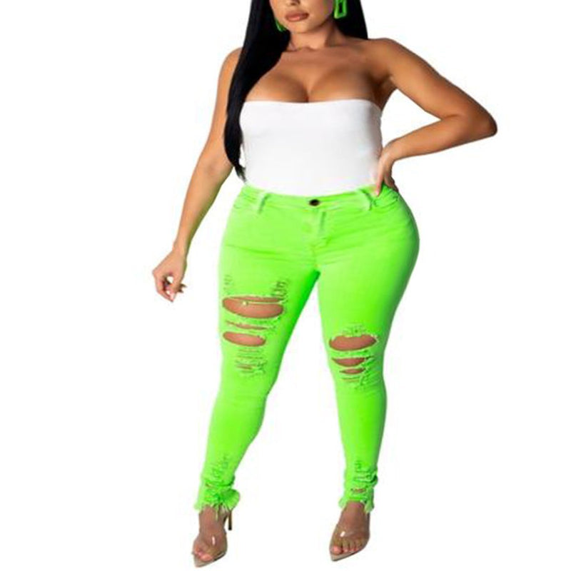 Distressed Neon Colored  Plus Size Skinny Jeans