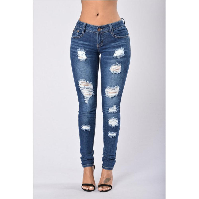 Casual Mid Waist Skinny Hole Ripped Jeans