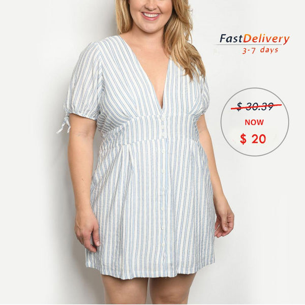 BLUE STRIPES PLUS SIZE DRESS
