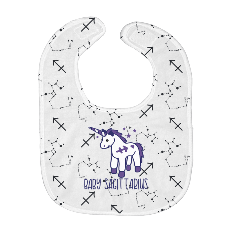 Baby Sagittarius Easy Bib + Custom Astrology Book - Birthday Predictions Solar Return Report | Astrological birth chart analysis, cosmic clothing & home goods!