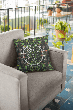 Birth Chart Throw Pillows in Botanical Bae + Custom Astrology Book - Birthday Predictions Solar Return Report | Astrological birth chart analysis, cosmic clothing & home goods!